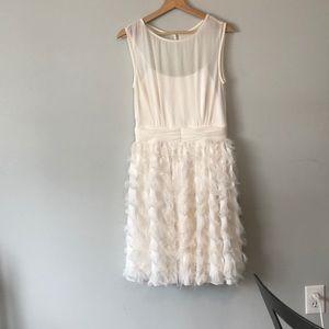 White feather skirt dress